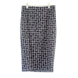 Vince Camuto Black Geometric Print Midi Skirt